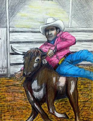 Steer Wrestling Original For Sale Art Print