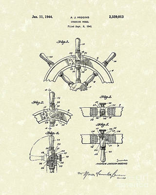 Drawing - Steering Wheel 1944 Patent Art by Prior Art Design