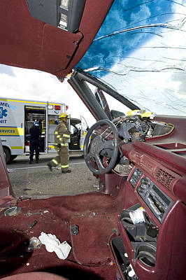 Medicine Wheel Photograph - Steering Wheel Damage From Car Crash by Kevin Link