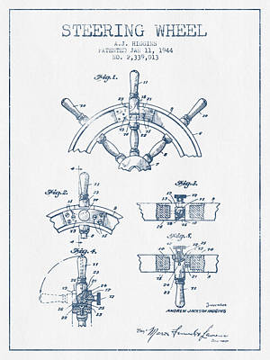 Steering Wheel Patent Drawing From 1944   -  Blue Ink Art Print