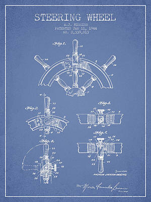 Steering Digital Art - Steering Wheel Patent Drawing From 1944  - Light Blue by Aged Pixel