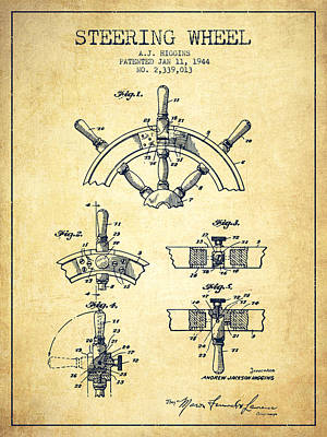 Steering Digital Art - Steering Wheel Patent Drawing From 1944  - Vintage by Aged Pixel