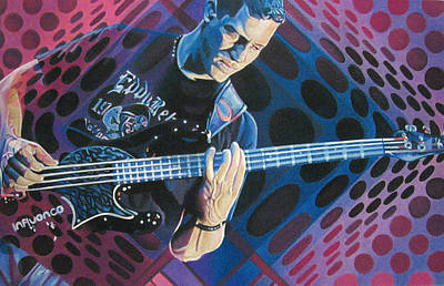 The Dave Matthews Band Drawing - Stefan Lessard Pop-op Series by Joshua Morton