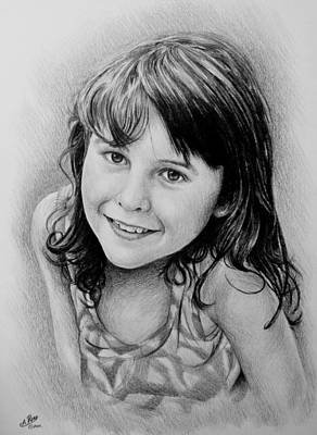 Girl Face Drawing - Stefanie by Andrew Read