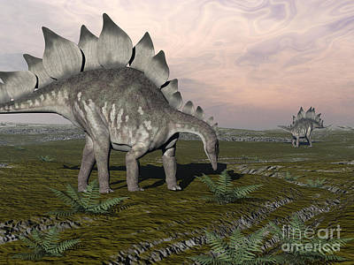 Stegosaurus Dinosaurs Grazing On Plants Art Print by Elena Duvernay
