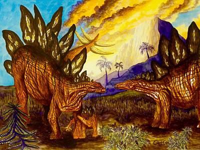 Painting - Stegosaurus by Gabriel Cajina