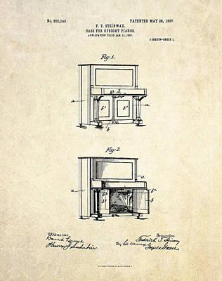 1907 Steinway Upright Piano Case Patent Art  Art Print