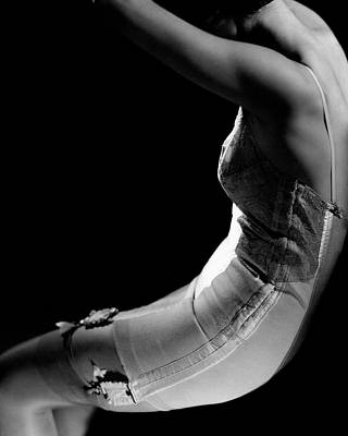 Black Background Photograph - Stella Bayliss Modeling A Corset Dress by Edward Steichen