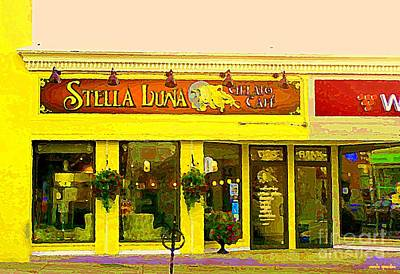 Painting - Stella Luna Gelato Cafe Trendy Sandwich Shop The Glebe Bistro Scenes Old Ottawa South Paintings  by Carole Spandau