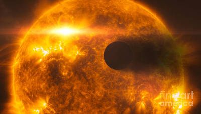 Heavenly Body Photograph - Stellar Flare Hits Exoplanet by Science Source