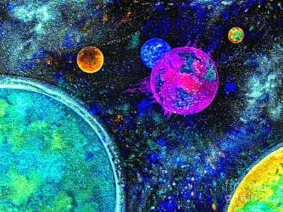 Outer Space Mixed Media - Stellar Flares by Bill Holkham