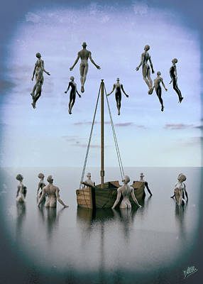 Surreal Art Mixed Media - Small Boats Of Emigrants by Quim Abella