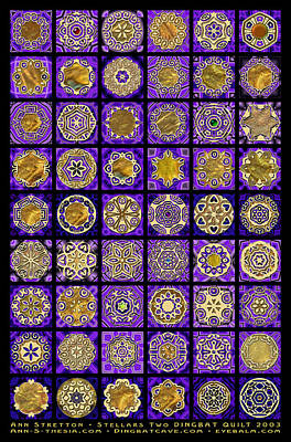 Millefiori Digital Art - Stellars Two Dingbat Quilt by Ann Stretton