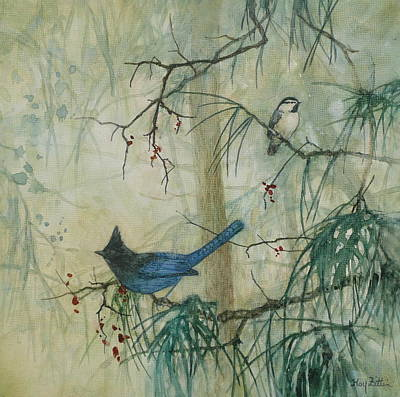 Wall Art - Painting - Steller's Jay And Chickadee by Floy Zittin