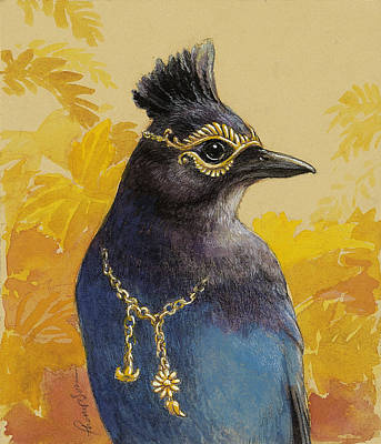 Corvid Painting - Steller's Jay Goes To The Ball by Tracie Thompson