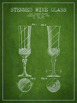 Vino Digital Art - Stemmed Wine Glass Patent From 1988 - Green by Aged Pixel