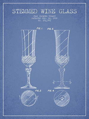 Vino Digital Art - Stemmed Wine Glass Patent From 1988 - Light Blue by Aged Pixel