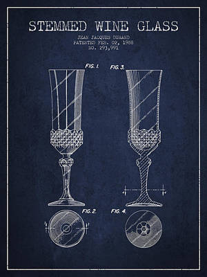 Vino Digital Art - Stemmed Wine Glass Patent From 1988 - Navy Blue by Aged Pixel
