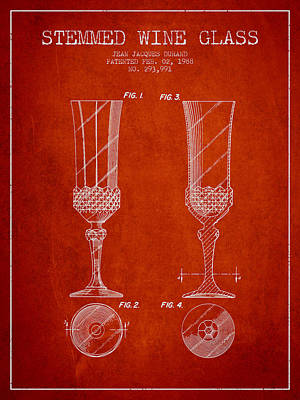 Vino Digital Art - Stemmed Wine Glass Patent From 1988 - Red by Aged Pixel