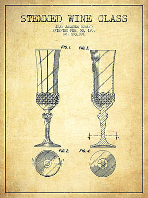 Vino Digital Art - Stemmed Wine Glass Patent From 1988 - Vintage by Aged Pixel