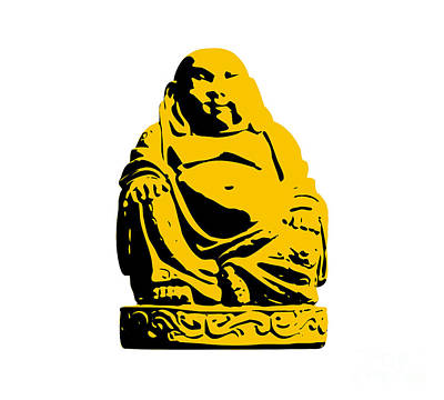 Pop Art Royalty-Free and Rights-Managed Images - Stencil Buddha Yellow by Pixel Chimp