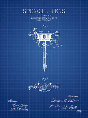 Pen Digital Art - Stencil Pen Patent From 1877 - Blueprint by Aged Pixel