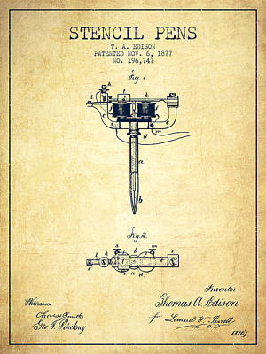 Edison Drawing - Stencil Pen Patent From 1877 - Vintage by Aged Pixel