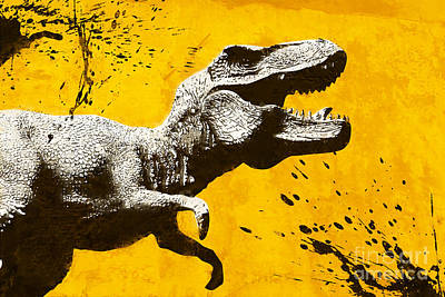 Extinct And Mythical Mixed Media - Stencil Trex by Pixel Chimp
