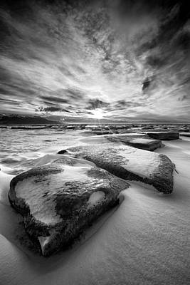 Winterscape Black And White Photograph - Step Stone Revisited by Ed Boudreau