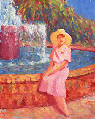 Stephanies Fountain Hat Art Print by Vernon Reinike