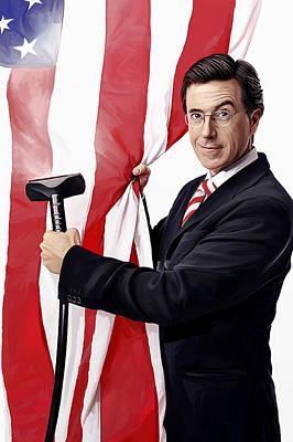 Television Mixed Media - Stephen Colbert Artwork by Sheraz A