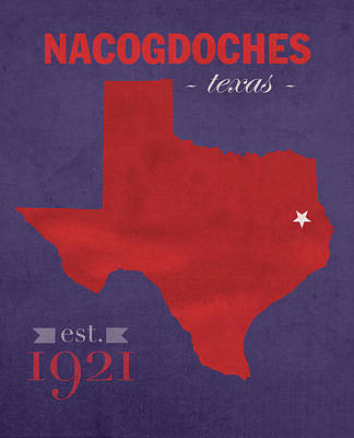 Austin Mixed Media - Stephen F Austin University Lumberjacks Nacogdoches Texas College Town Map Poster Series No 129 by Design Turnpike