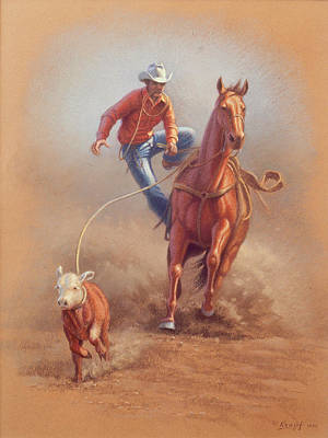 Roping Horse Painting - Steppin' Down At Red Lodge by Paul Krapf