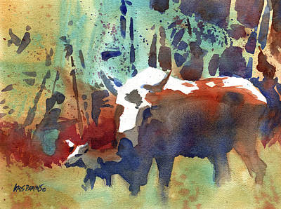 Moose Watercolor Painting - Steppin' Out by Kris Parins
