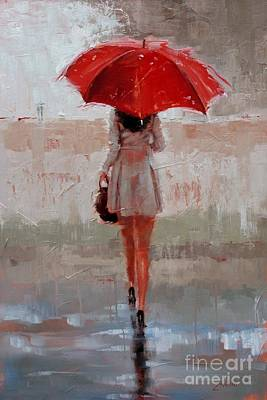 Rainy Day Painting - Stepping Out by Laura Lee Zanghetti