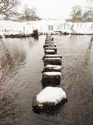 Snow Drifts Photograph - Stepping Stones Across The River Rothay by Ashley Cooper