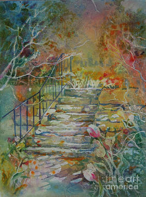 Steps And Tulips Art Print by Mary Haley-Rocks