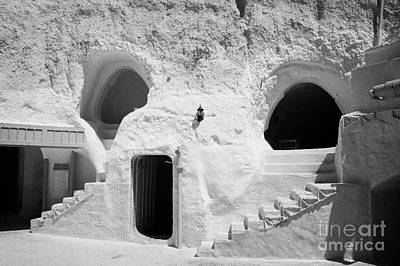 steps from the courtyard up to the entrance of the caves at the Sidi Driss Hotel underground at Matmata Tunisia scene of Star Wars films Art Print by Joe Fox