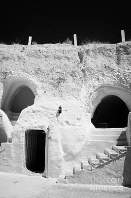 steps from the courtyard up to the entrance of the caves at the Sidi Driss Hotel underground at Matmata Tunisia scene of Star Wars films vertical Art Print by Joe Fox