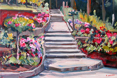 Berkeley Painting - Steps In The Rose Garden by Robert Gerdes