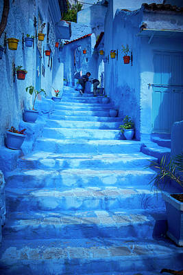 Photograph - Steps Of Colorful Blue Historical by Larry Williams & Associates
