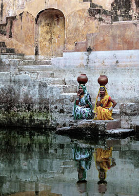 Old Fort Photograph - Stepwell Reflections by Susan Moss