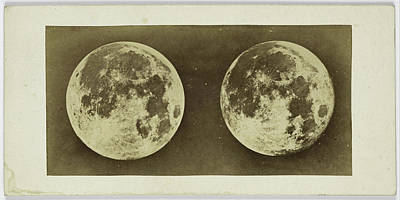 Full Moon Drawing - Stereoscopic Image Of The Full Moon, Andries Jager by Artokoloro