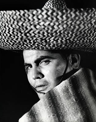 Poncho Photograph - Stereotype Portrait Mexican Man Wearing by Vintage Images