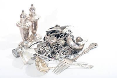Sterling Silver Bracelet Photograph - Sterling Silver Scrap by Gunter Nezhoda