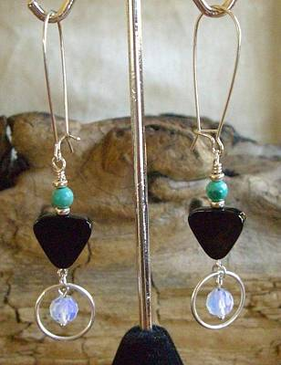 Opalite Jewelry - Sterling Turquoise Onyx And Opalite Earrings  by Ann Mooney