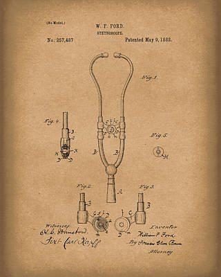 Drawing - Stethoscope 1882 Patent Art Brown by Prior Art Design