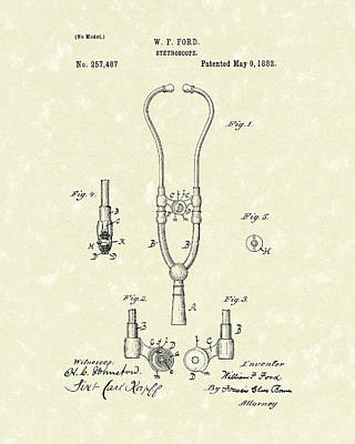 Drawing - Stethoscope 1882 Patent Art by Prior Art Design