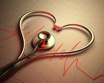 Being Photograph - Stethoscope In Heart Shape by Ktsdesign