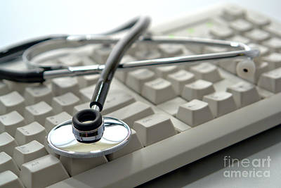 Electronic Photograph - Stethoscope On Computer Keyboard by Olivier Le Queinec